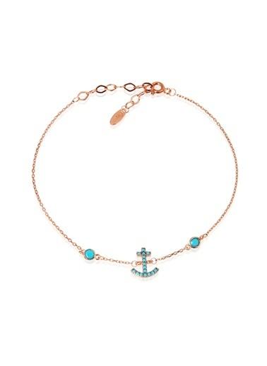 Coquet Accessories Rose Gold Dalgıç Şekilli Gümüş Bileklik Pembe